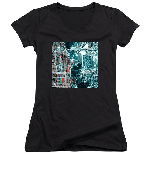Chicago Map Drawing Collage Women's V-Neck T-Shirt