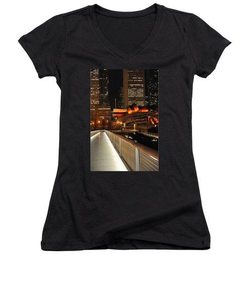 Chicago Millenium Park Women's V-Neck T-Shirt (Junior Cut) by Steve Archbold
