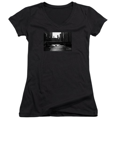 Chicago Morning Commute - Monochrome Women's V-Neck (Athletic Fit)