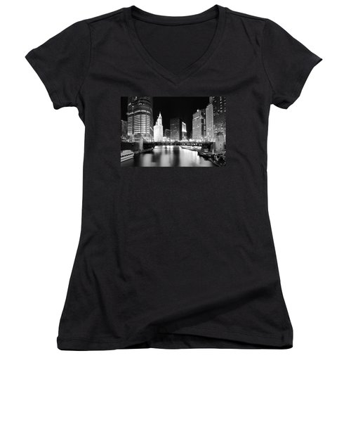 Chicago River Bridge Skyline Black White Women's V-Neck