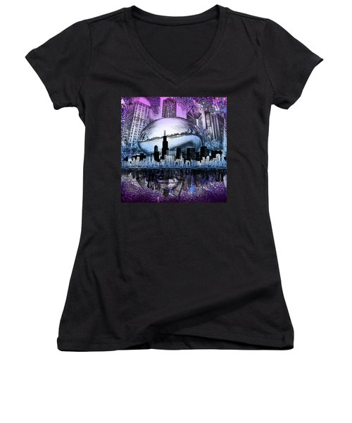 Chicago Skyline Drawing Collage 2 Women's V-Neck T-Shirt