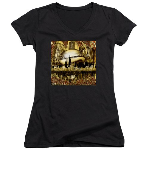 Chicago Skyline Drawing Collage 3 Women's V-Neck T-Shirt