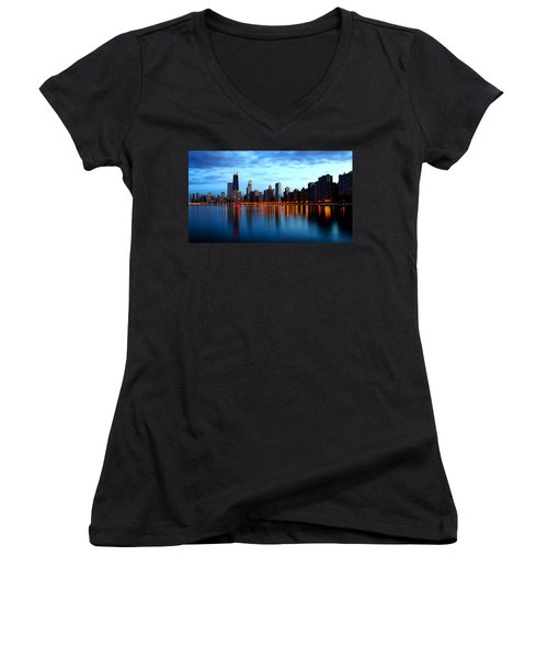 Chicago Skyline Dusk Women's V-Neck
