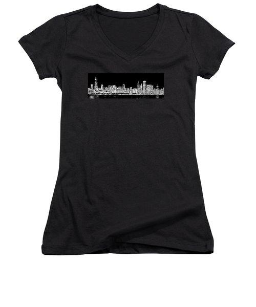 Chicago Skyline Fractal Black And White Women's V-Neck T-Shirt
