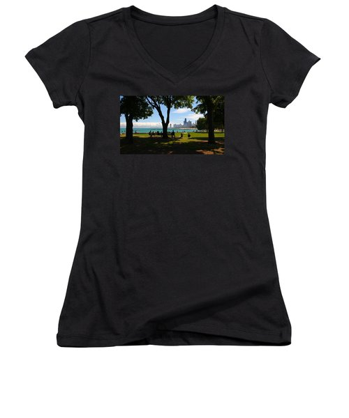 Chicago Skyline Lakefront Park Women's V-Neck