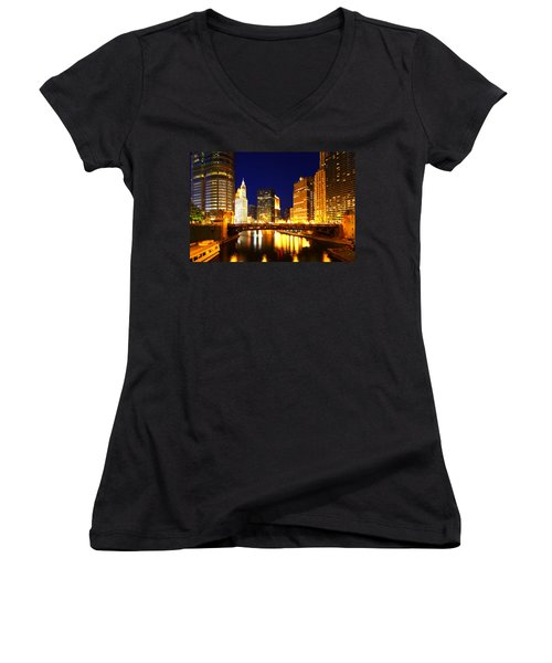 Chicago Skyline Night River Women's V-Neck