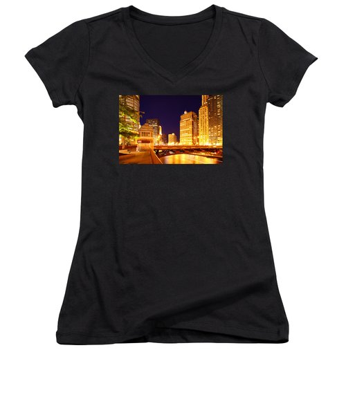 Chicago Skyline River Bridge Night Women's V-Neck