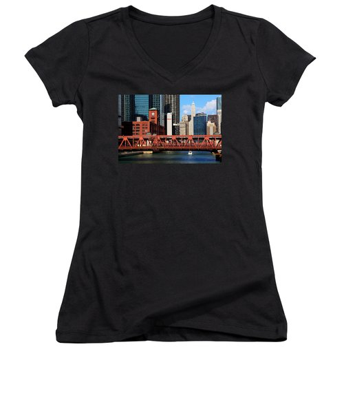 Chicago Skyline River Bridge Women's V-Neck