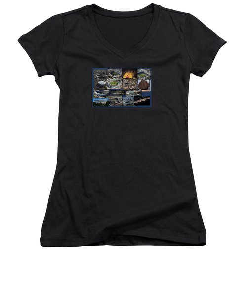 Chicago Sports Collage Women's V-Neck T-Shirt (Junior Cut) by Thomas Woolworth
