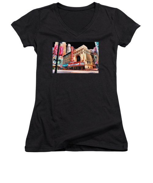 Chicago Theater - 23 Women's V-Neck T-Shirt (Junior Cut) by Ely Arsha