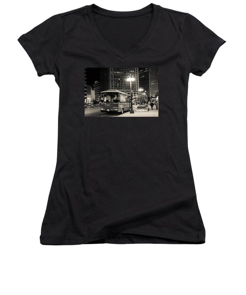 Chicago Trolly Stop Women's V-Neck T-Shirt (Junior Cut) by Melinda Ledsome