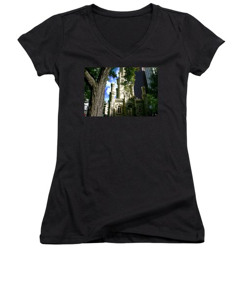 Chicago Water Tower Castle Women's V-Neck