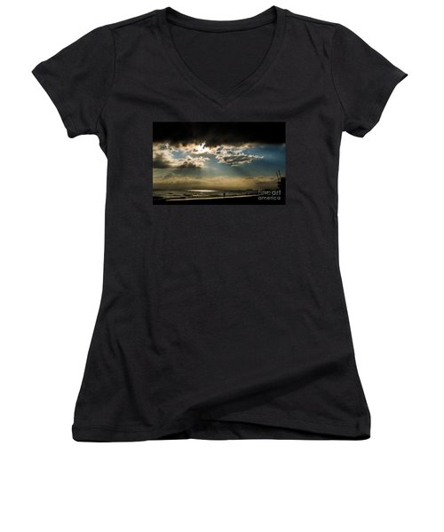 Chick's Beach Morning Women's V-Neck T-Shirt (Junior Cut) by Angela DeFrias