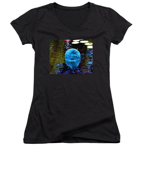 Artsy Blue Glass Float Women's V-Neck (Athletic Fit)