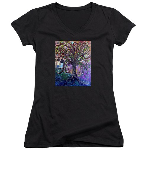 Women's V-Neck T-Shirt (Junior Cut) featuring the painting Children Under The Fantasy Tree With Jackie Joyner-kersee by Eloise Schneider