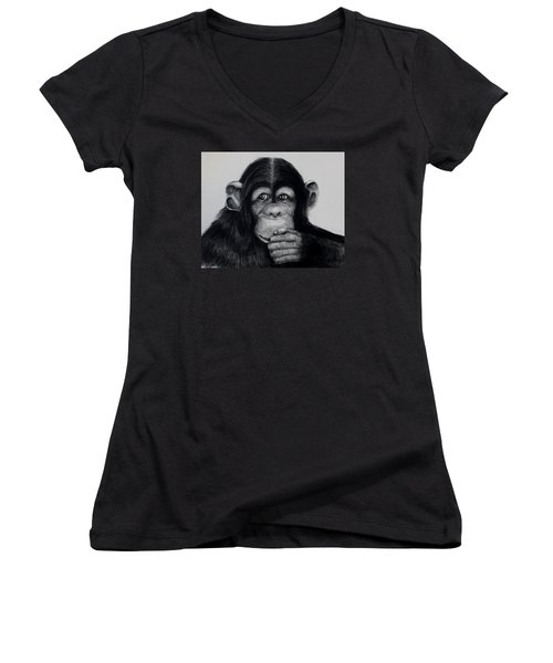 Chimp Women's V-Neck T-Shirt (Junior Cut) by Jean Cormier