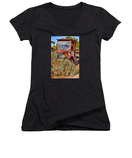 Women's V-Neck T-Shirt (Junior Cut) featuring the photograph China Ranch Truck by Jerry Fornarotto