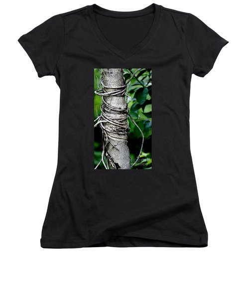 Women's V-Neck T-Shirt (Junior Cut) featuring the photograph Choke by Lilliana Mendez