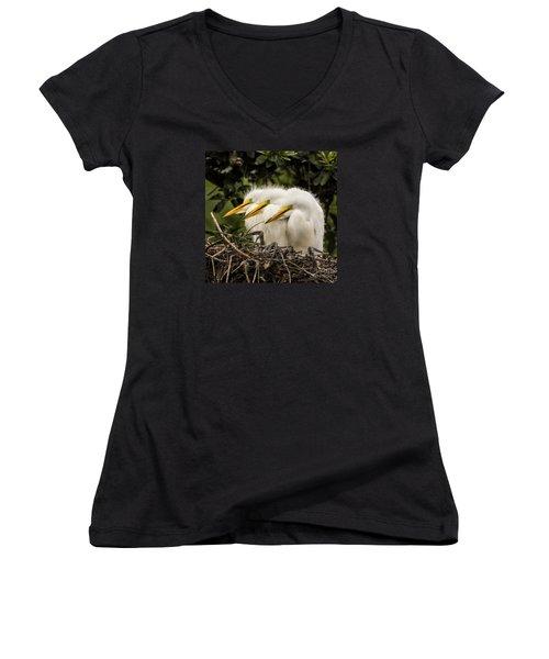 Chow Line Women's V-Neck T-Shirt (Junior Cut) by Priscilla Burgers