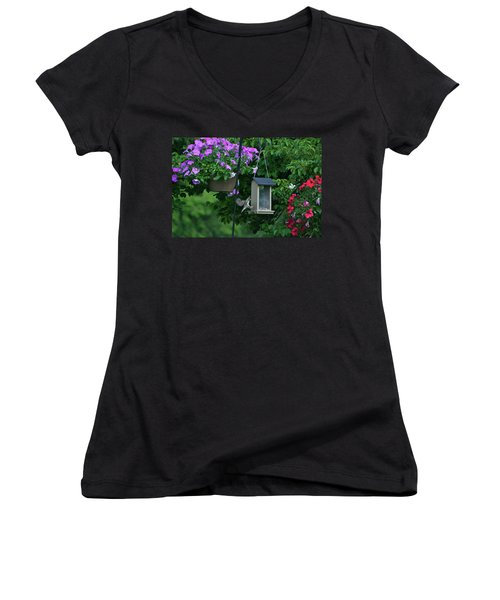 Women's V-Neck T-Shirt (Junior Cut) featuring the photograph Chow Time For This Bird by Thomas Woolworth