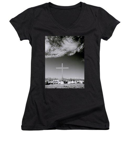 Christian Grave Women's V-Neck T-Shirt (Junior Cut) by Shaun Higson