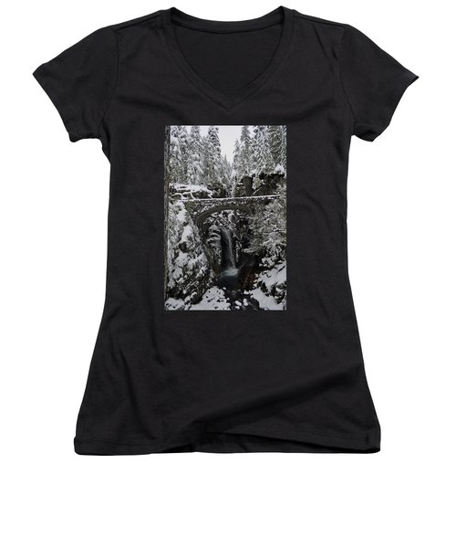 Women's V-Neck T-Shirt (Junior Cut) featuring the photograph Christine Falls In The Winter by Tikvah's Hope