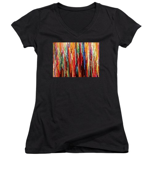 A Rainbow Melting  Women's V-Neck (Athletic Fit)