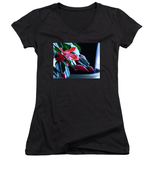 Christmas Cactus In Bloom Women's V-Neck (Athletic Fit)