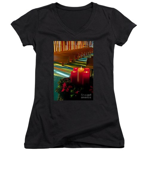 Christmas Candles At Church Art Prints Women's V-Neck T-Shirt (Junior Cut) by Valerie Garner