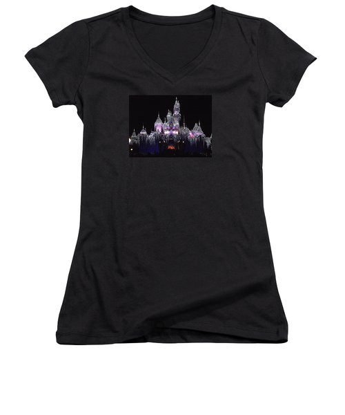 Christmas Castle Night Women's V-Neck T-Shirt (Junior Cut) by Nadalyn Larsen