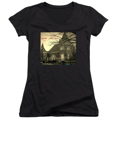 Christmas Chapel Women's V-Neck (Athletic Fit)