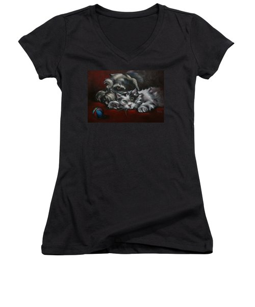 Women's V-Neck T-Shirt (Junior Cut) featuring the painting Christmas Companions by Cynthia House