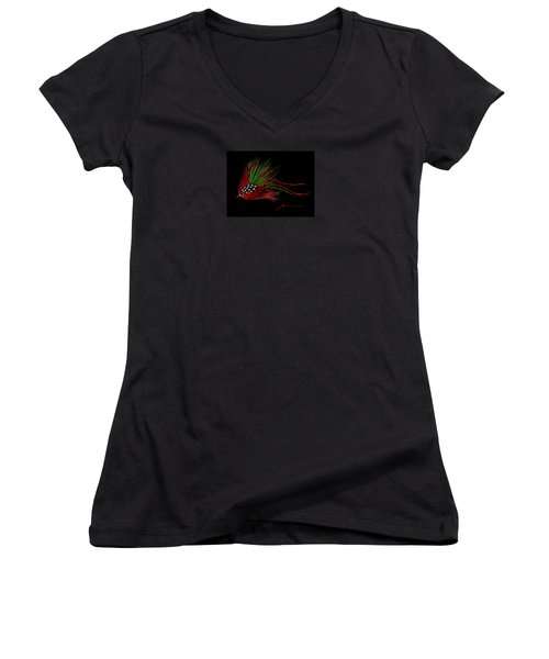 Women's V-Neck T-Shirt (Junior Cut) featuring the painting Christmas Fly by Jean Pacheco Ravinski