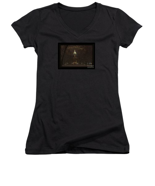 Christmas Greeting Card Notre Dame Golden Dome In Night Sky And Snow Women's V-Neck T-Shirt (Junior Cut) by John Stephens