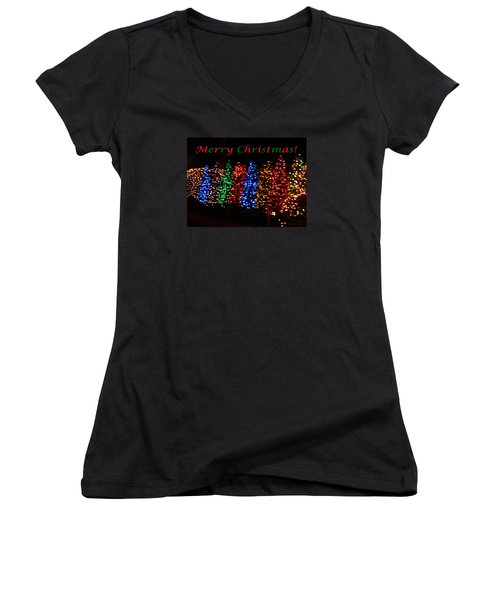 Women's V-Neck T-Shirt (Junior Cut) featuring the photograph Christmas Trees Dancing In The Night by Emmy Marie Vickers