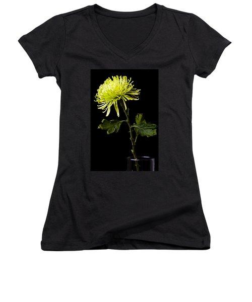 Women's V-Neck T-Shirt (Junior Cut) featuring the photograph Chrysanthemum by Sennie Pierson