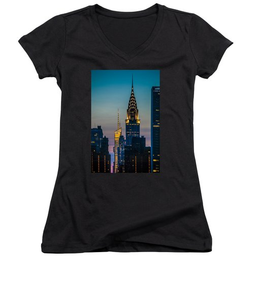 Chrysler Building At Sunset Women's V-Neck