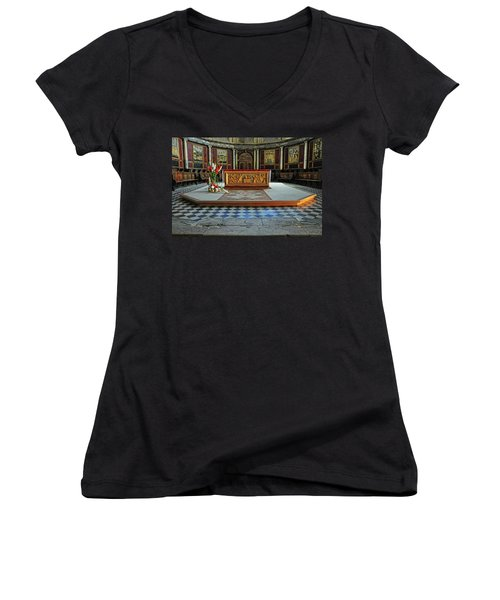 Women's V-Neck T-Shirt (Junior Cut) featuring the photograph Church Alter Provence France by Dave Mills