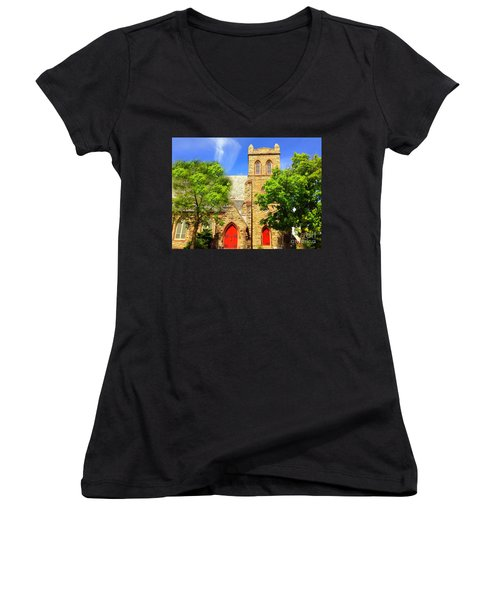Women's V-Neck T-Shirt (Junior Cut) featuring the photograph Church And Red Doors by Becky Lupe