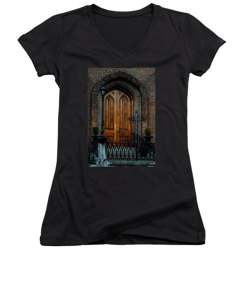 Church Arch And Wooden Door Architecture Women's V-Neck T-Shirt (Junior Cut) by Lesa Fine