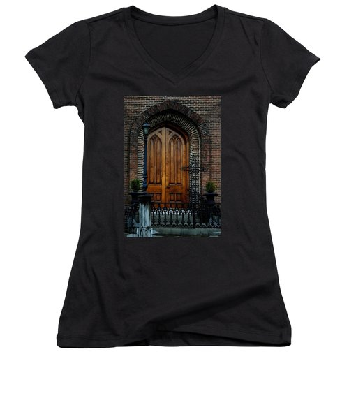 Church Arch And Wooden Door Architecture Women's V-Neck