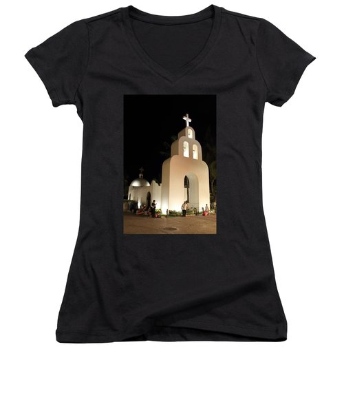 Church At Night In Playa Del Carmen Women's V-Neck T-Shirt (Junior Cut) by Roupen  Baker