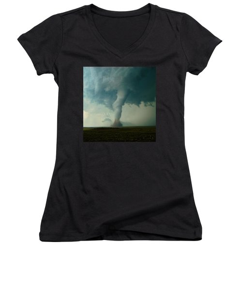 Churning Twister Women's V-Neck T-Shirt (Junior Cut) by Ed Sweeney