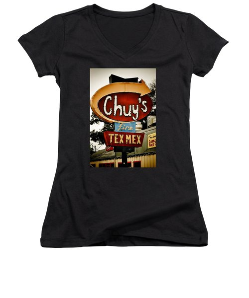 Chuy's Sign 2 Women's V-Neck (Athletic Fit)