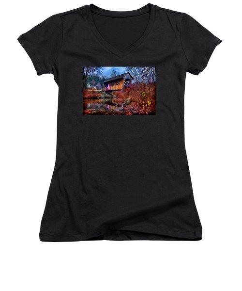 Cilleyville Covered Bridge Women's V-Neck T-Shirt (Junior Cut) by Jeff Folger