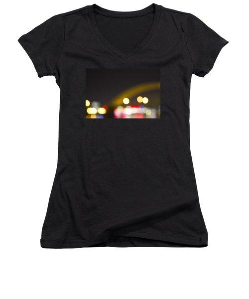 Women's V-Neck T-Shirt (Junior Cut) featuring the photograph Cincinnati Night Lights by Daniel Sheldon