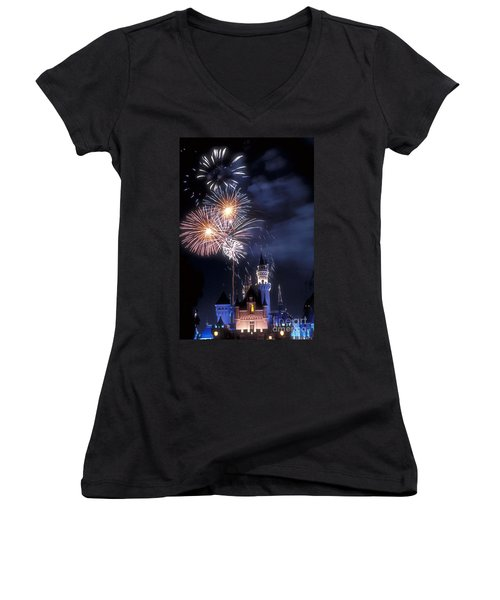 Cinderella Castle Fireworks Iconic Fairy-tale Fortress Fantasyland Women's V-Neck (Athletic Fit)