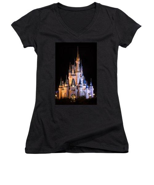 Cinderella's Castle In Magic Kingdom Women's V-Neck T-Shirt (Junior Cut) by Adam Romanowicz