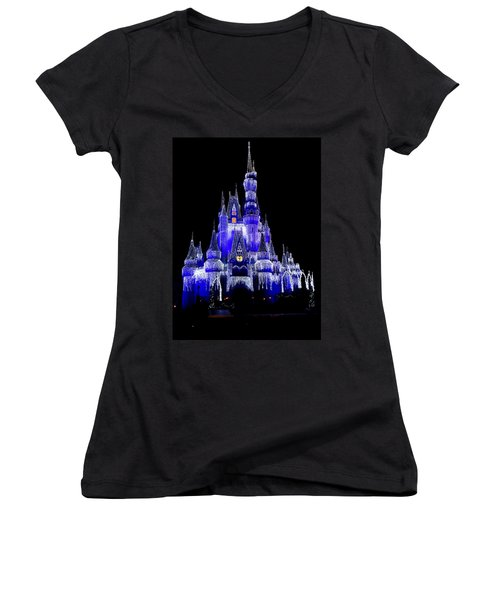 Women's V-Neck T-Shirt (Junior Cut) featuring the photograph Cinderella's Castle by Laurie Perry