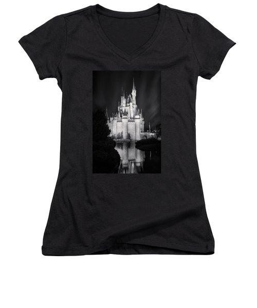 Cinderella's Castle Reflection Black And White Women's V-Neck